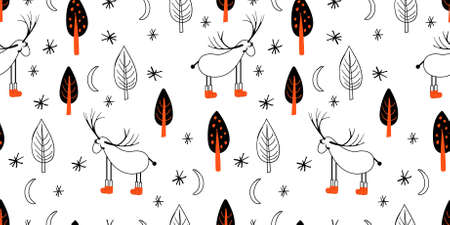 Seamless light pattern with deers and trees. Scandinavian style drawing. Linear art. Black-white illustration. Hello winter.