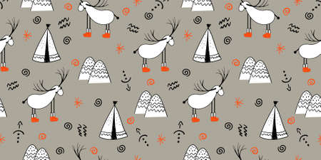Reindeer. An animal with horns. Illustration in folk style. Stylized mountains. Scandinavian print. Seamless pattern for kids.