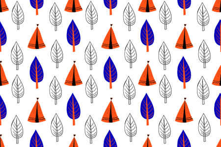 Seamless pattern in scandinavian style for children .. Cute cartoon trees on a white background.