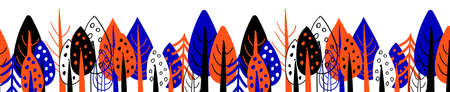 Seamless border with trees. Picture tree. Design of packing tape or print on fabric. Bright Scandinavian style. Blue and orange tseta on a white background. Stock Illustratie