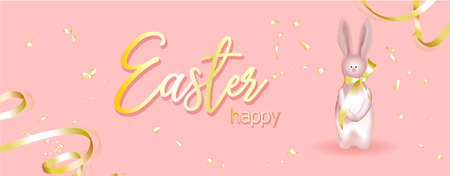 Horizontal banner, poster, header website. vector illustration.Easter holiday banner. Easter design with realistic holiday items, sparkling garland lights, a rabbit, a ribbon, shiny golden confetti. Stock Illustratie