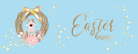 Easter banner. Advertising poster. Easter. SPRING HOLIDAY. Christian religion. A wreath of branches on a blue background. Birdhouse. Vector illustration. Website header. Horizontal format.