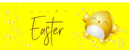 Easter poster and banner template with Easter chicken on a bright yellow background .. Greetings and gifts for Easter Day. Promotion and shopping template for easter day. .