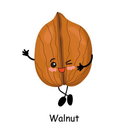 Walnut. illustration. Walnut character isolated on white background. Stockfoto
