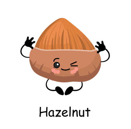 Hazelnut . illustration. Cute CUTE Walnut character with arms and legs Isolated on a white background. Stockfoto