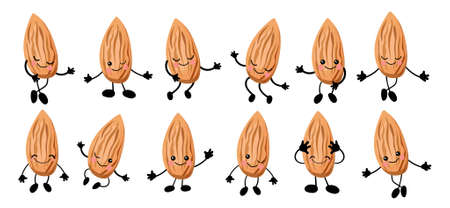 Cute cartoon almond. Walnut character. illustration isolated on white background.