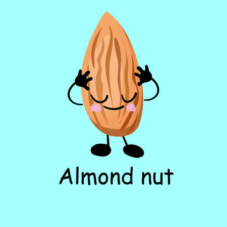 Almonds. Cute nut character with hands and eyes. Cartoon fruit or vegetable. Useful vegan food Stockfoto