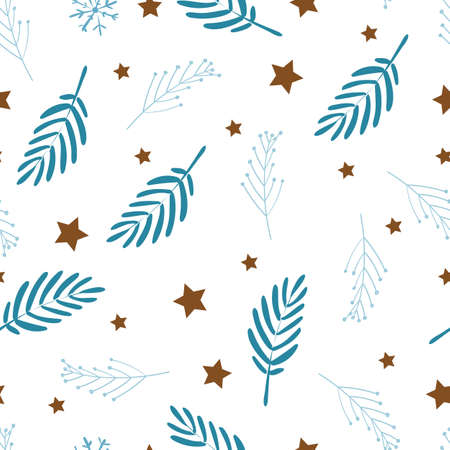 Delicate seamless pattern on white background. Baby bedding or curtains. Blue leaves and stars. Scandinavian style