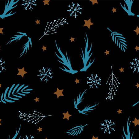 Stylish Scandinavian style pattern is dark. Magic decor for textiles or paper. Stockfoto