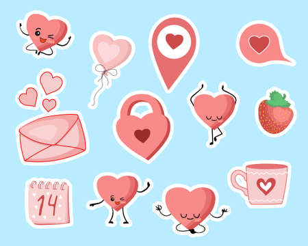Valentines Day stickers. Heart, castle, cup cloud love