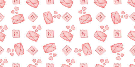 Seamless pattern for Valentines day. Envelope with a heart. Love.