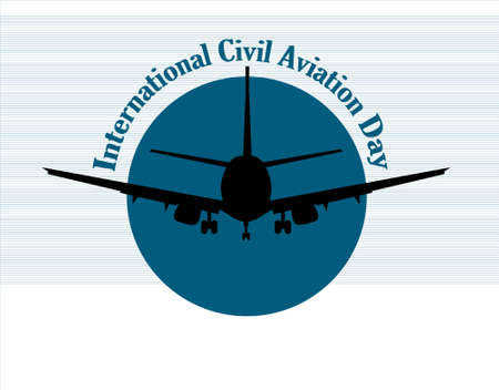 Airplane on a white background. Banner for International Civil Aviation Day.