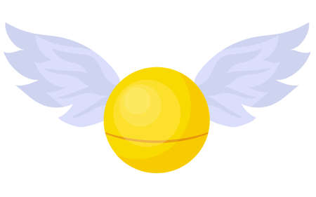Magic Snitch. Quidditch Hogwarts School. A magical item. Ball with wings.