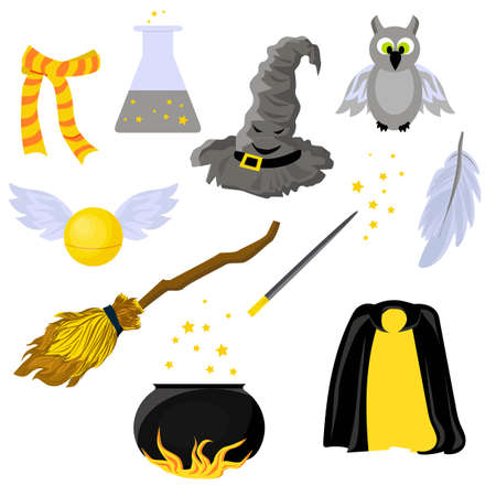 Set of stickers on the theme of Magic. Hogwarts. School of magic. Mantle of Invisibility.