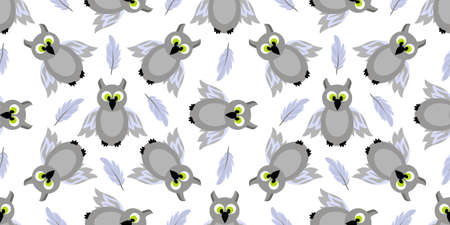 Seamless pattern magic and sorcery. Owl. Gray bird. Hogwarts School of Magic. Teenage Textiles. Stockfoto