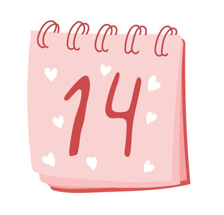 Valentines Day. Calendar with the inscription. February 14. Pink color. Stockfoto