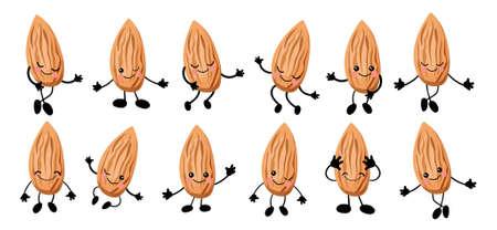 Cute cartoon almond. Walnut character. illustration isolated on white background. Archivio Fotografico - 136912138
