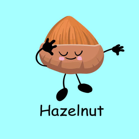 Hazelnut. Cute nut character with hands and eyes. Cartoon fruit or vegetable. Useful vegan food