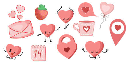 Stickers for the day of all lovers. Pink color. Romantic pictures. St. Valentines Day Stockfoto