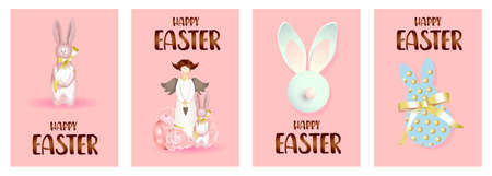 Set of easter holiday gift cards. easter banners, web posters, flyers and brochures, greeting cards, group vibrant covers. Design with realistic easter decoration objects. Easter