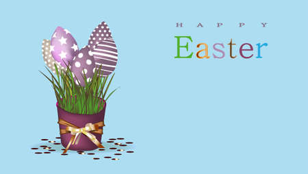 Easter background with place for text. Banner or poster for Easter. Blue. Golden eggs. Spring Break. Promotions and sales. Website header.