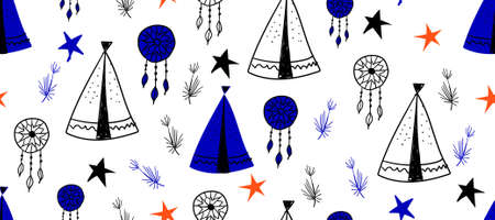 Seamless pattern in Scandinavian style for children .. Cute cartoon trees and tents on a blue background. Wigwam for the Indians. Drawings for boys.
