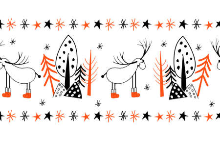 scandinavian deer. SEAMLESS TAPE FOR WALLPAPER AND PACKING PAPER. BEDDING DESIGN .. Reindeer. CUTE CHARACTER. Folklore style.. 스톡 콘텐츠 - 138349481