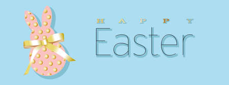 Easter banner. Horizontal poster, postcard, website headers, background with text happy easter. Bunny rabbit with a bow from a gold ribbon on a blue background. Elegant Design with realistic objects..