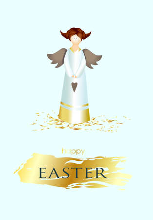 Easter banner. Vertical poster, postcard, background with text Happy Easter. Angel on a light background. elegant. Gold brush stroke. Design with realistic objects. Christian religion. Spring.