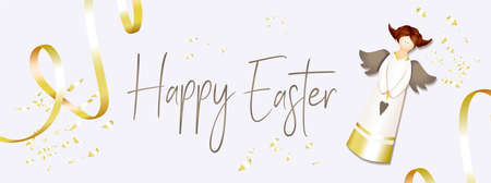 Easter banner. Horizontal poster, postcard, website headers, background with text happy easter. Angel on a light background. Elegant Design with realistic objects..