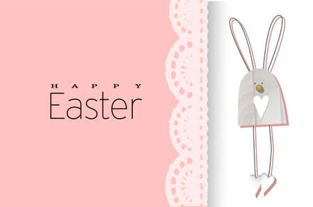 Easter background. Festive design composition top view. bunnies. Lace decoration. Happy easter. Horizontal banner, postcard, flyer. Greeting card. PINK tender spring.