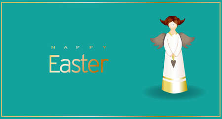 Easter greeting banner. Modern realistic design. Happy easter. Bright color. The figure of an angel. Postcard, poster.