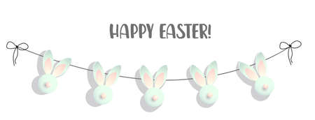 Easter banner. Elegant design of holiday discounts. Garland of Rabbits. Inscription. Stains. Vector illustration. Happy easter. Shabby chic style. retro. White minimalism Stock Illustratie