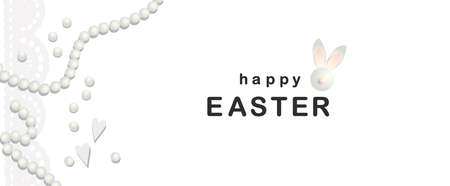 Easter banner. Elegant design of holiday discounts. Garland of lace. Rabbit. Inscription. Stains. Vector illustration. Happy easter. Shabby chic style. retro White