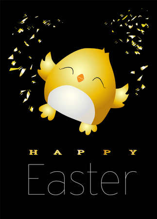 Little yellow chicken. Cute bird on a white background. Spring and easter design element. Hatching from an egg. Ready Easter card. Vector illustration. Happy easter Stock Illustratie