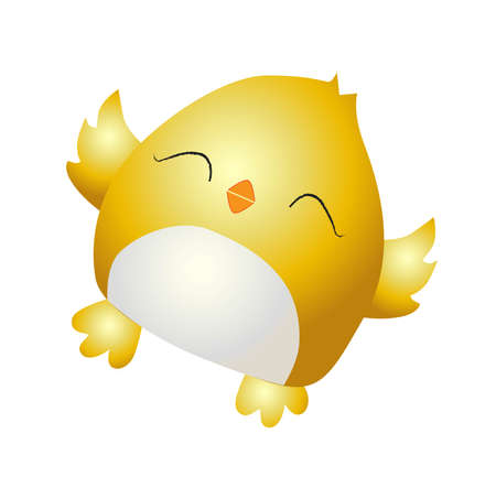 Little yellow chicken. Cute bird on a white background. Spring and easter design element. Hatching from an egg. Isolated on a white background. Vector illustration. Happy easter. Stock Illustratie
