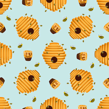 Funny cute bee houses pattern. The bees. Hives. Honeycomb. Sweet Honey. Children's drawing.Vector illustration.