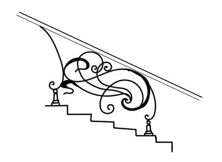 Forged fence. The iron fence. Forging is art. Curls. Elegant railing for the stairs. Metal and iron. Sketch.
