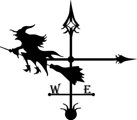 Vane. Chimney decoration. Iron tenderloin. Baba Yaga is flying on a broomstick. Witch. Forged items.