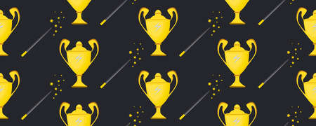 Winner cup. Seamless pattern. Background with a golden vase. Sports award. The magic bowl. Magic wand. Illustration