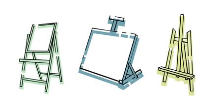 Art supplies. Easel. Stand for the picture. Oil painting. Desktop easel icons. Creativity and art.