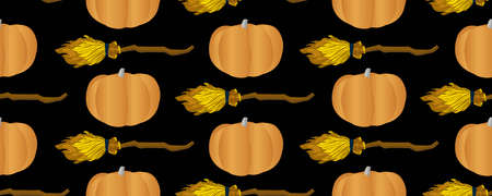 Seamless vector pattern. Pumpkin and flying broom. Broom for flying. Magic and witchcraft. Halloween