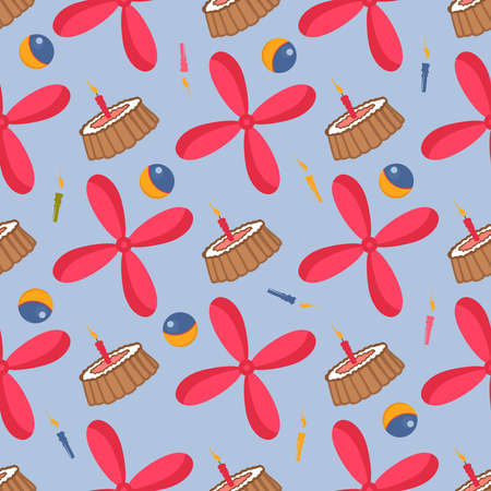 Seamless children s pattern for boys. Red propeller and cake. Holiday candles and toy ball. Toys pattern. Vector illustration. Design textile and interior room for kids. Illustration