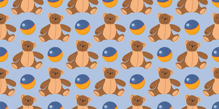 Children s seamless pattern. The ball for the game. Children s textiles and wrapping paper. Teddy bear toy Illustration