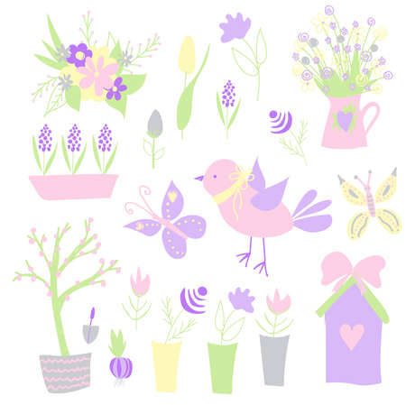 Easter. Spring stickers. Happy easter. Elements for creating postcards. Bird, flowers birdhouse Pastel colors