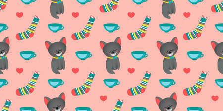 Seamless pattern for girls. Alice in Wonderland. Through the looking glass. Book characters. Cheshire Cat. Tea party Pink color.