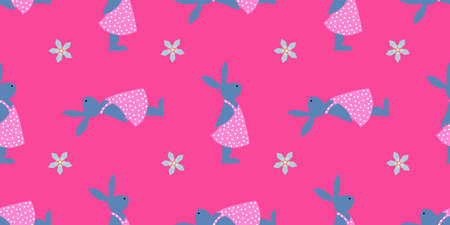 Seamless pattern for easter. Easter bunnies. Bright colours. Texture for wrapping paper. Happy holidays. Spring flowers. Blue pink