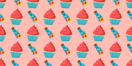 Children s seamless pattern for girls. Alice in wonderland cakes and cupcakes. Magic potion. Pink background.