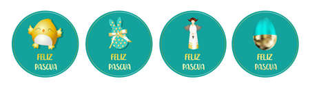 Easter stickers. Round badges. Chicken, angel, bunny rabbit. Spring design. Translation from Spanish HAPPY EASTER