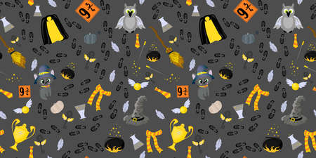 Seamless pattern. Magical items. Mantle of invisibility, talking hat and magic wand. Cauldron for magic potion, a broom for flights. Witchcraft and magic. Fantasy world. Illustration
